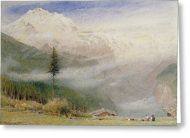 Chalet Greeting Cards - Jungfrau, 1913 Greeting Card by Albert Goodwin