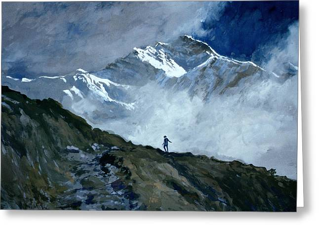 Grey Clouds Greeting Cards - Jungfrau Greeting Card by John Cooke