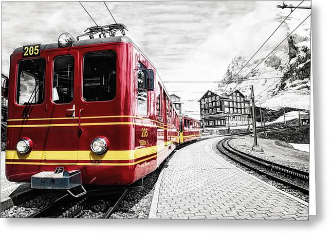 Cog Greeting Cards - Jungfraubahn Greeting Card by Ryan Wyckoff