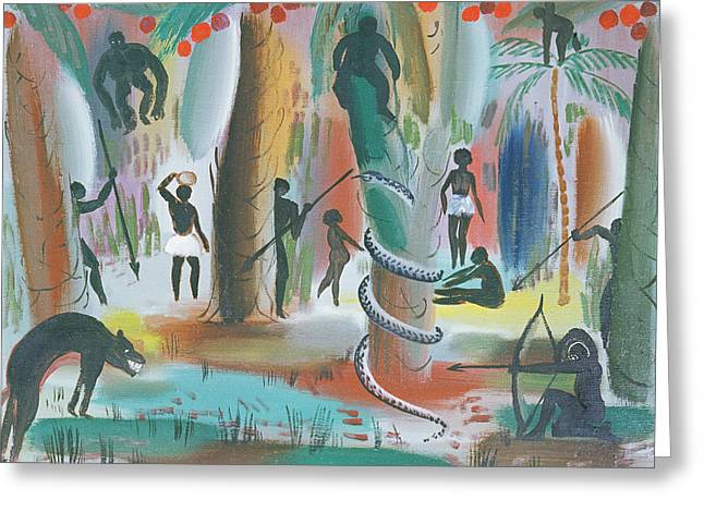Huntsman Photographs Greeting Cards - Jungle, 1979 Oil On Canvas Greeting Card by Radi Nedelchev
