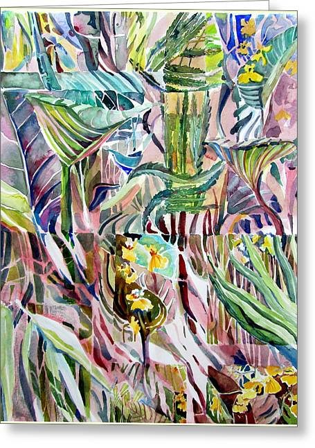 Color Green Drawings Greeting Cards - Jungle Abstract Greeting Card by Mindy Newman