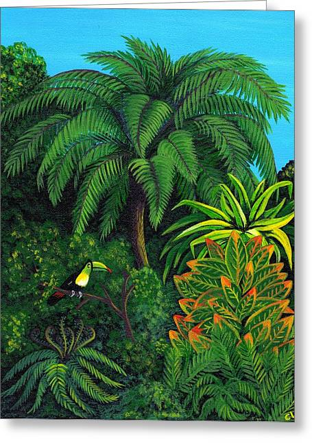 Cyndi Kingsley Greeting Cards - Jungle and Toucan Greeting Card by Cyndi Kingsley