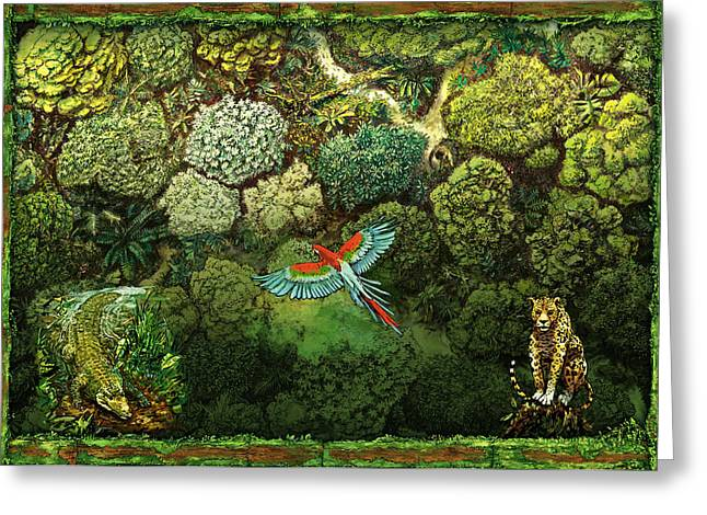 Lush Green Mixed Media Greeting Cards - Jungle animals framed Greeting Card by Odysseas Stamoglou