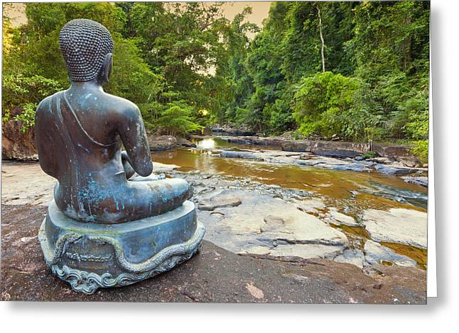 Peaceful Scenery Greeting Cards - Jungle Buddha Greeting Card by Alexey Stiop