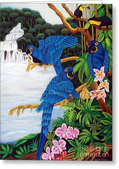 Totam Tapestries - Textiles Greeting Cards - Jungle Chats hand embroidery Greeting Card by To-Tam Gerwe