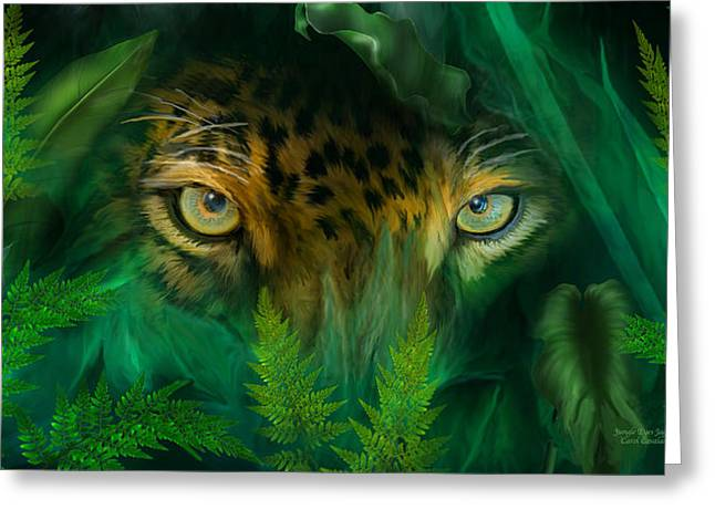 Jaguars Mixed Media Greeting Cards - Jungle Eyes - Jaguar Greeting Card by Carol Cavalaris