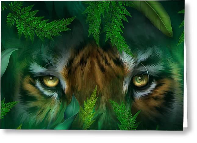 Tiger Print Greeting Cards - Jungle Eyes - Tiger Greeting Card by Carol Cavalaris