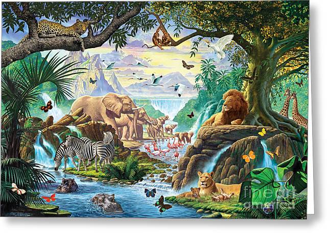 Lion Illustrations Greeting Cards - Jungle Five Greeting Card by Steve Crisp