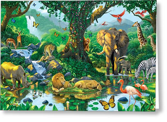 Jungle Animals Greeting Cards - Jungle Harmony Greeting Card by Chris Heitt