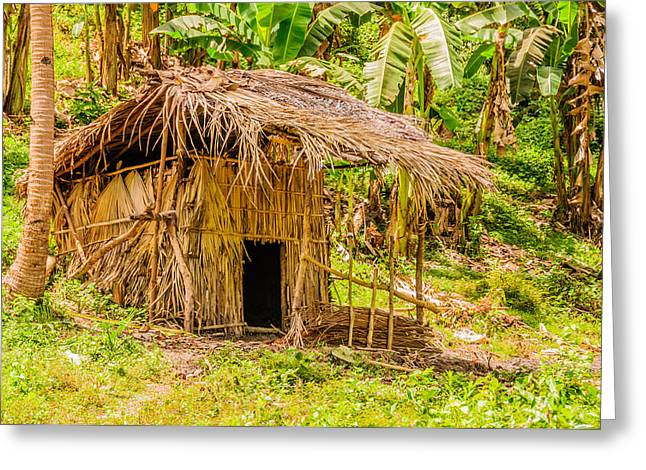 Bamboo House Greeting Cards - Jungle Hut In A Tropical Rainforest Greeting Card by Colin Utz