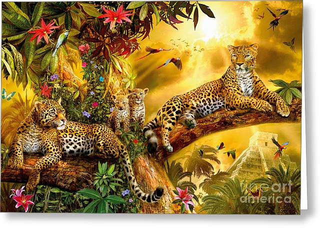 Jungle Animals Greeting Cards - Jungle Jaguars Greeting Card by Jan Patrik Krasny