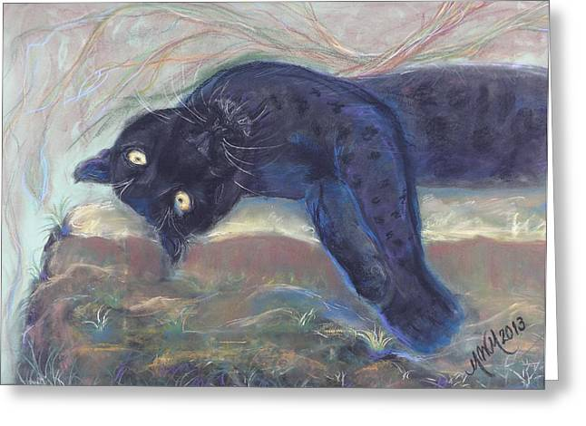 Jaguars Pastels Greeting Cards - Jungle Kitty  Greeting Card by Michelle Wolff