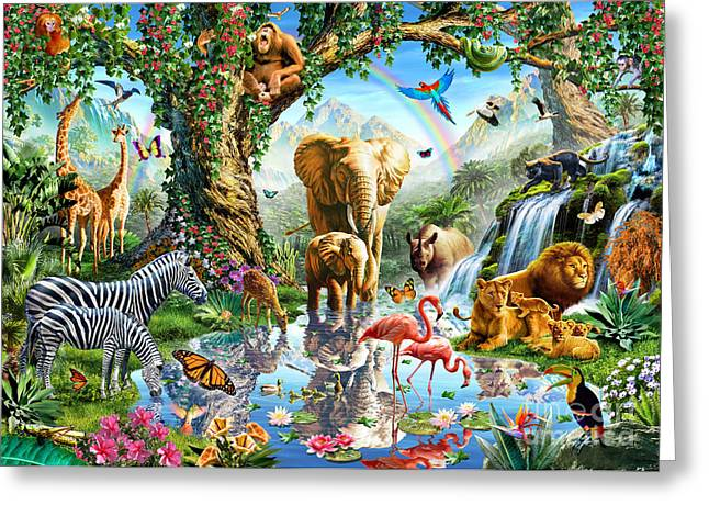 Jungle Animals Greeting Cards - Jungle Lake Greeting Card by Adrian Chesterman