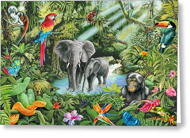 Jungle Animals Greeting Cards - Jungle Greeting Card by Mark Gregory