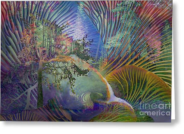 Hallucination Greeting Cards - Jungle Mushrooms Greeting Card by Ursula Freer