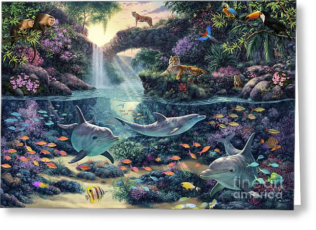Dolphins Digital Art Greeting Cards - Jungle Paradise Greeting Card by Steve Read
