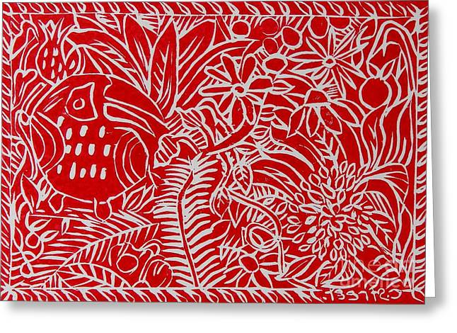 Lino Paintings Greeting Cards - Jungle Scene with Toucan Red Greeting Card by Caroline Street