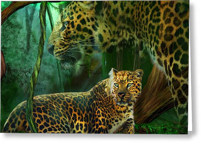 Jaguars Mixed Media Greeting Cards - Jungle Spirit - Leopard Greeting Card by Carol Cavalaris