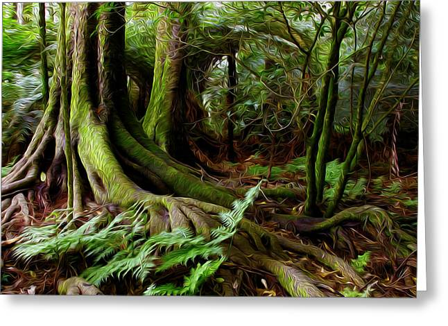 Tree Roots Digital Art Greeting Cards - Jungle trunks2 Greeting Card by Les Cunliffe