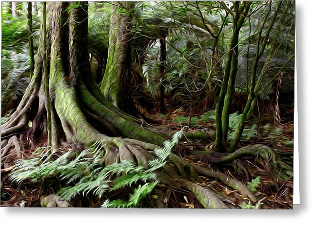 Tree Roots Greeting Cards - Jungle trunks3 Greeting Card by Les Cunliffe