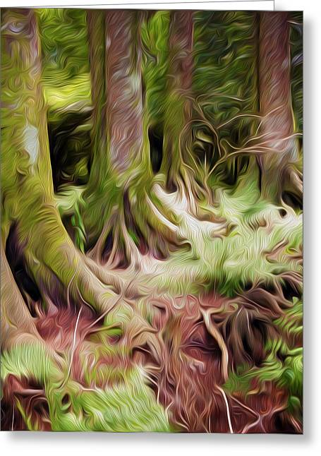 Woodland Scenes Greeting Cards - Jungle trunks4 Greeting Card by Les Cunliffe
