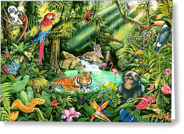 Playroom Greeting Cards - Jungle Variant 1 Greeting Card by Mark Gregory