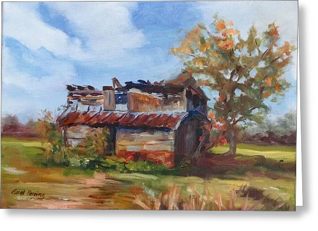 Dilapidated Paintings Greeting Cards - Junior Johnson Lived Here Greeting Card by Carol Berning