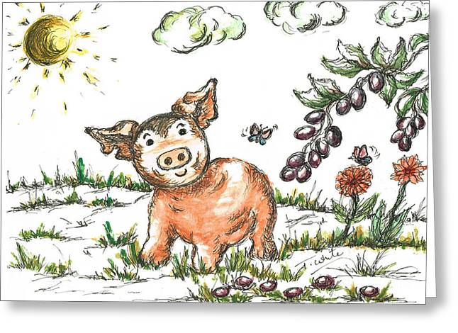 Piglets Mixed Media Greeting Cards - Junior Pig Greeting Card by Teresa White