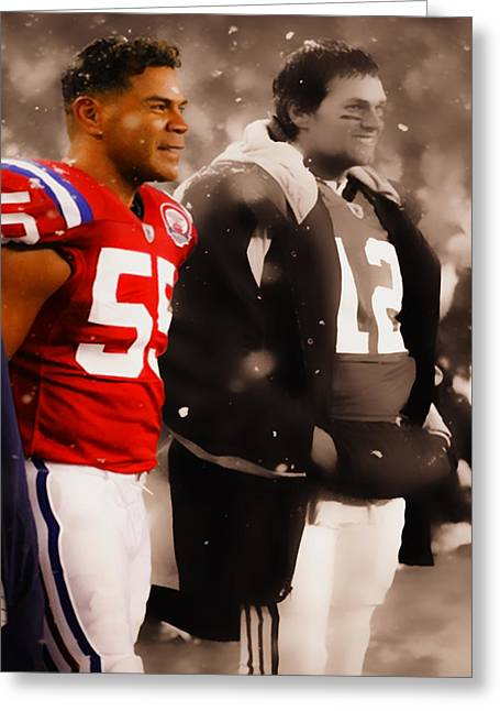 Seau Greeting Cards - Junior Seau and Tom Brady Greeting Card by Brian Reaves