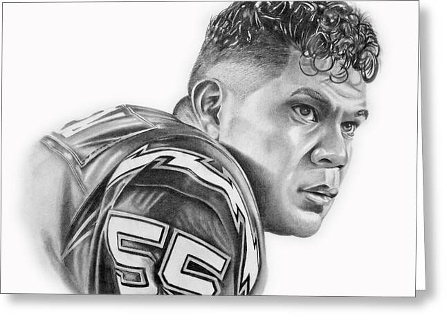 Seau Greeting Cards - Junior Seau Greeting Card by Don Medina