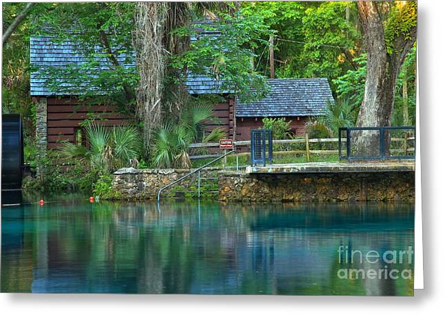 Spring Mill Greeting Cards - Juniper Springs Mill House Reflections Greeting Card by Adam Jewell