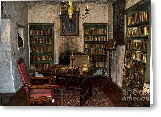 Table Greeting Cards - Junipero Serra library in Carmel Mission Greeting Card by RicardMN Photography