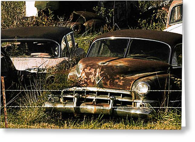 Rusted Cars Greeting Cards - Junk Yard Greeting Card by Thomas Bomstad