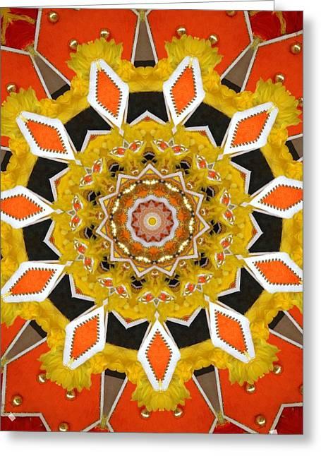 Junkanoo In Orange And Yellow Greeting Card by Linda Cousins-Newton