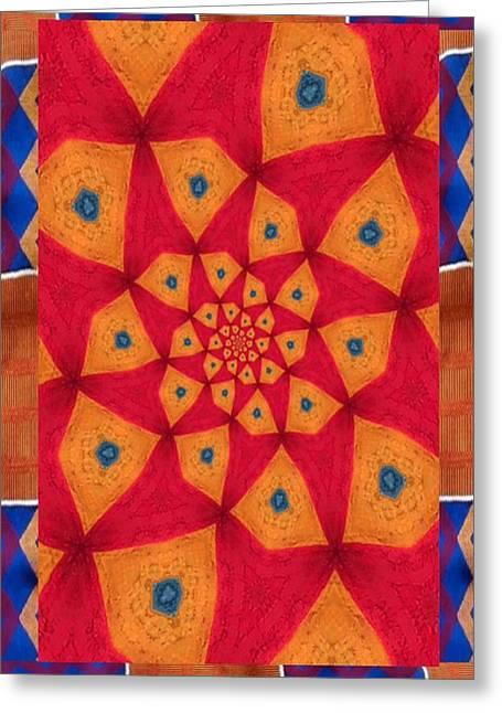 Junkanoo Pants Pasteup With Kente Trim Greeting Card by Linda Cousins-Newton