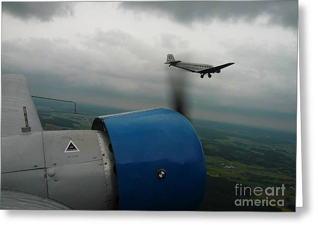 Ju 52 Greeting Cards - Junkers Ju-52 flight under dark clouds Greeting Card by Joachim Kraus