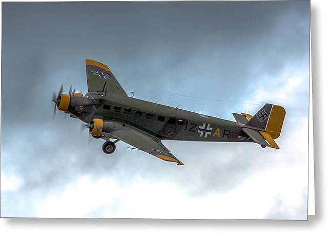 Ju 52 Greeting Cards - Junkers JU-52 in flight Greeting Card by Bill Lindsay