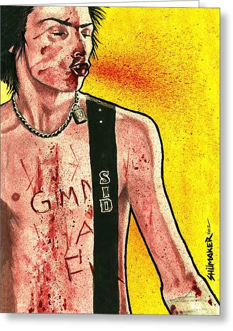 Prison Paintings Greeting Cards - Junkie Portrait Series Sid Vicious  Greeting Card by David Shumate