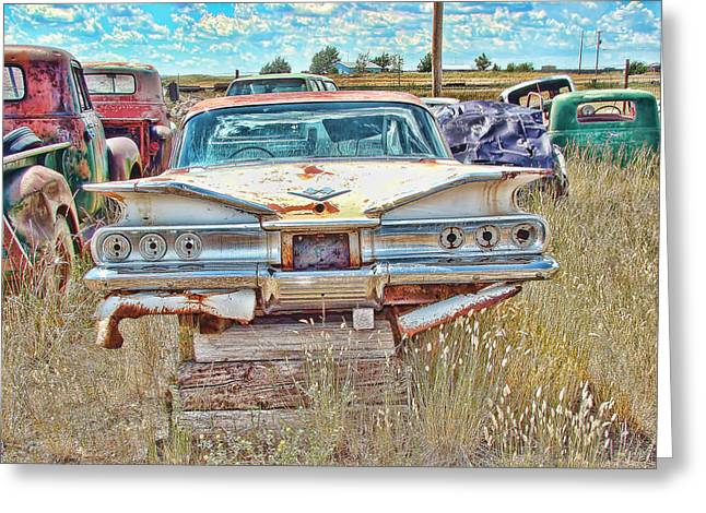 1960 Greeting Cards - Junkyard Series 1960s Chevrolet Impala Greeting Card by Cathy Anderson