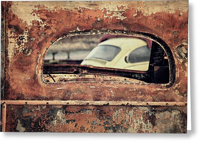 Odd Jeppesen Greeting Cards - Junkyard Window Greeting Card by Odd Jeppesen