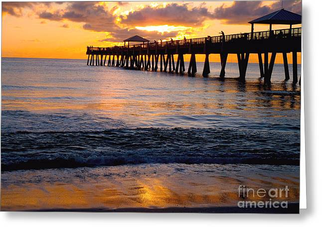 Carey Chen Greeting Cards - Juno Beach pier Greeting Card by Carey Chen