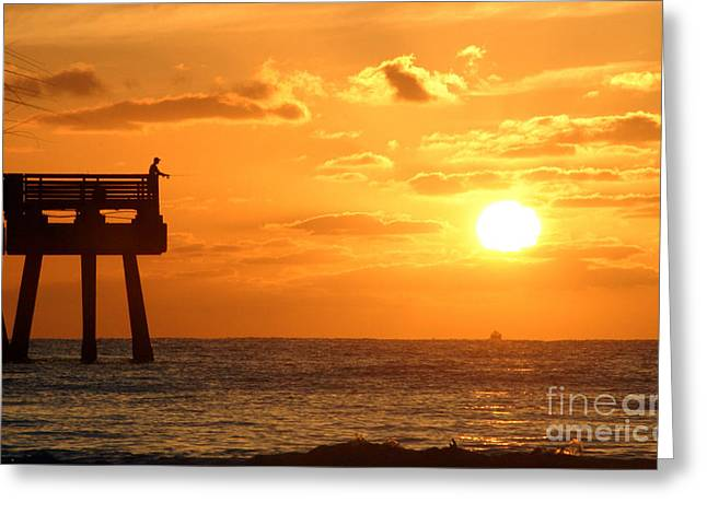 Pastimes Greeting Cards - Juno Beach Pier Sunrise Fishing Frenzy Greeting Card by Darleen Stry