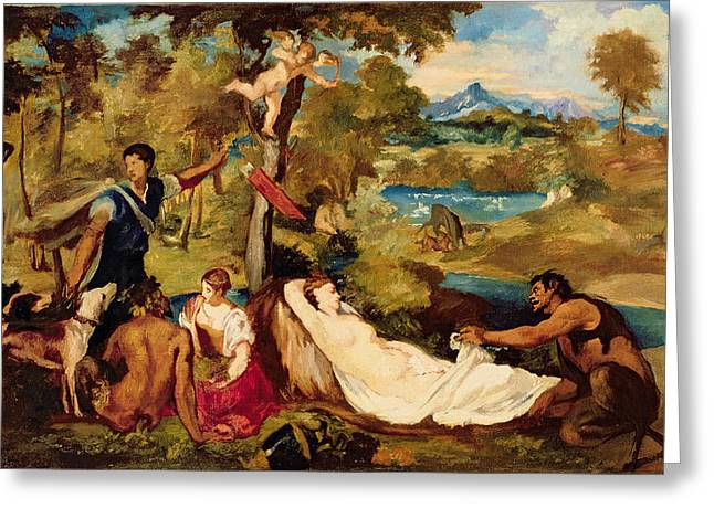 Zeus Greeting Cards - Jupiter And Antiope, 1856 Oil On Canvas Greeting Card by Edouard Manet
