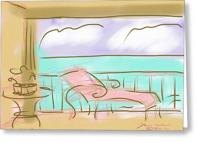Chaise Drawings Greeting Cards - Jupiter Balcony Greeting Card by Jean Pacheco Ravinski