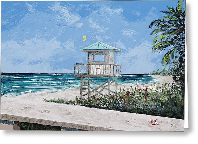 Surfing Art Print Paintings Greeting Cards - Jupiter Beach Life Guard Stand Greeting Card by Paul Seaman