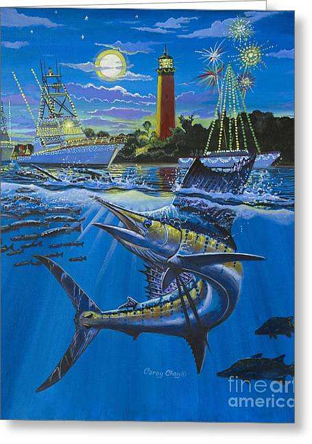 Hobe Sound Greeting Cards - Jupiter Boat Parade Greeting Card by Carey Chen
