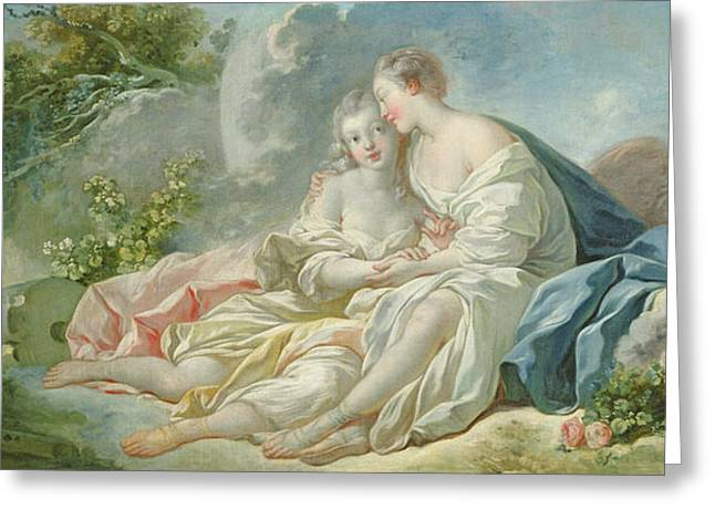 Flirtation Greeting Cards - Jupiter Disguised As Diana Tries To Seduce Callisto, C.1753 Oil On Canvas Greeting Card by Jean-Honore Fragonard