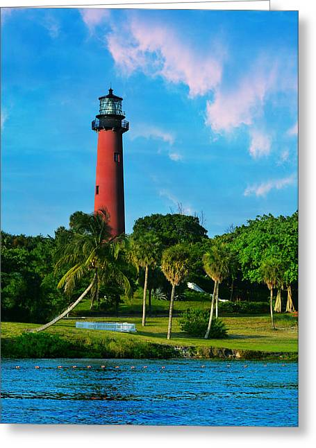 Jupiter Island Greeting Cards - Jupiter Florida Lighthouse Greeting Card by Laura  Fasulo
