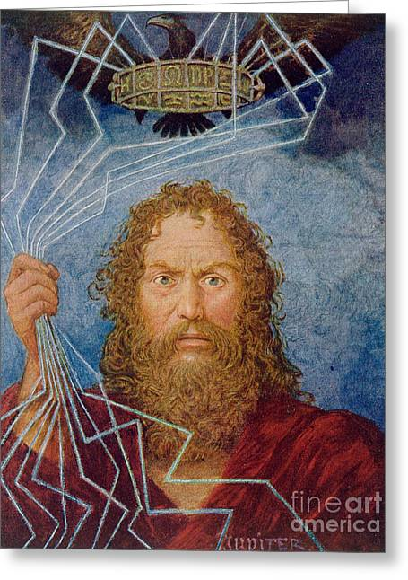 The Lightning Man Paintings Greeting Cards - Jupiter Greeting Card by Hans Thoma