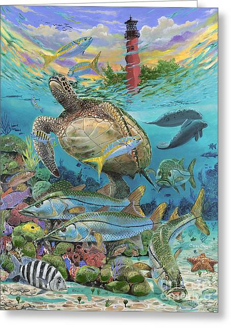 Green Turtle Greeting Cards - Jupiter Haven Re001 Greeting Card by Carey Chen